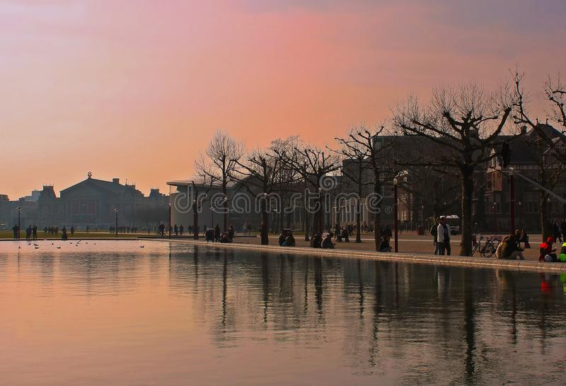 Red Sky in Amsterdam royalty free stock photography