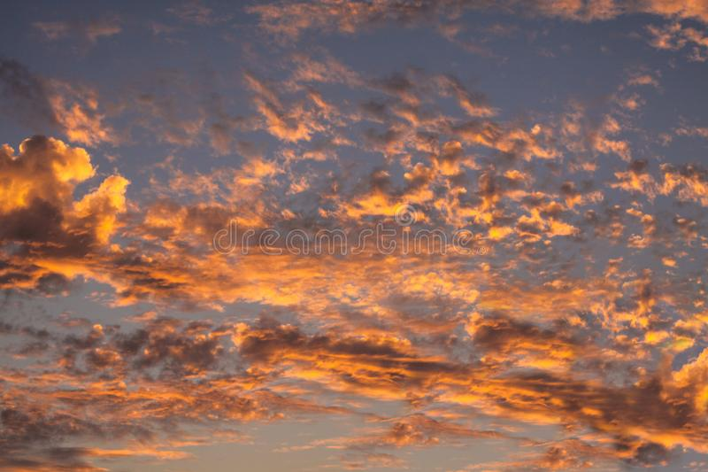 Red sky clouds background. Beautiful landscape with clouds on sky.  stock photography