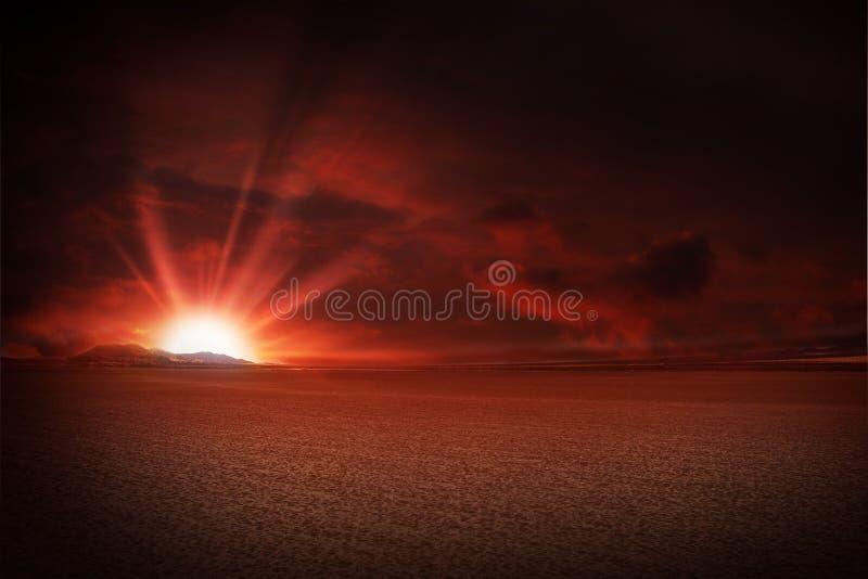 Red Sky Desert Sunset. Illustration royalty free stock photo