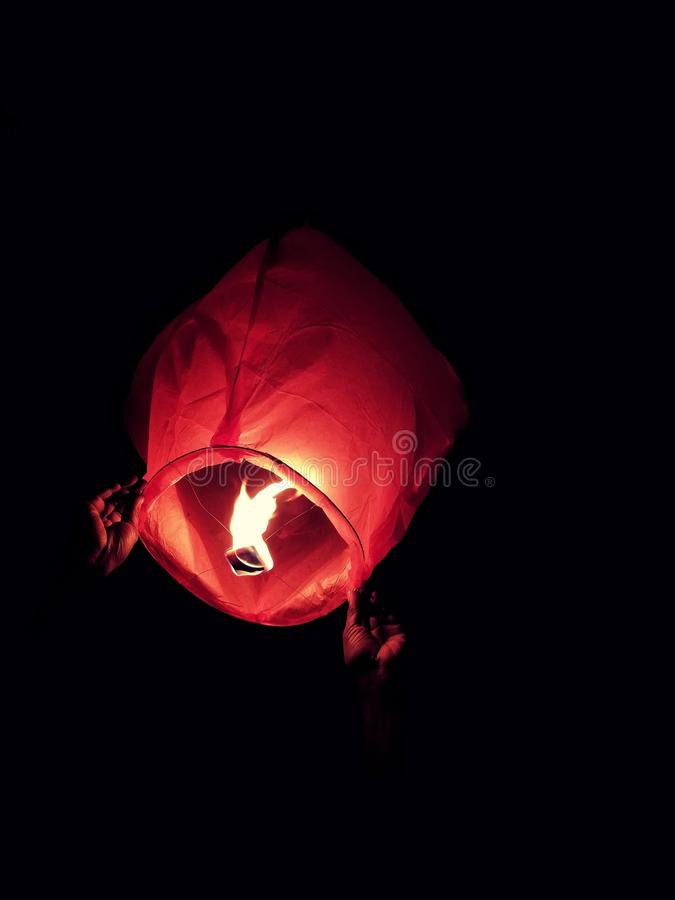Red Sky Lantern With Fire royalty free stock photo