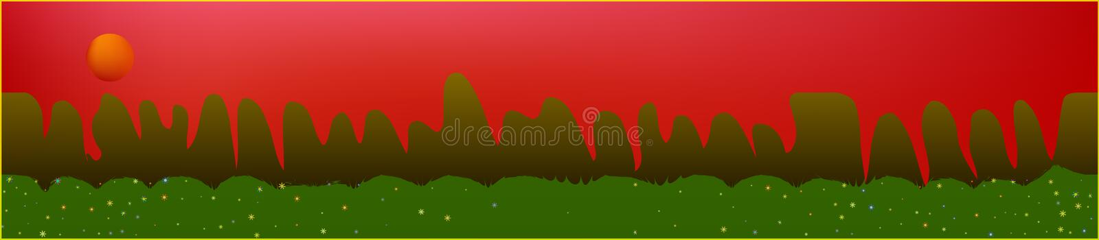 Red sky, and mountains landscape. Panoramic horizontal design. Trendy panoramic design. Pristine glass print fantasy. Horizon, bright. Old game style royalty free illustration