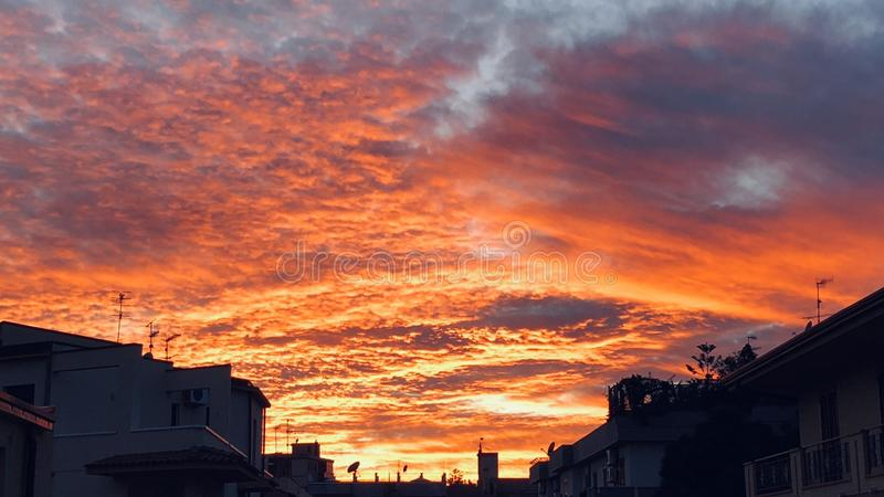 Red sky royalty free stock image