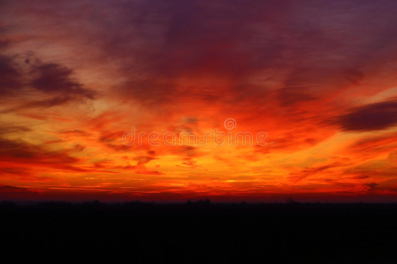 Red sky at sunset stock photography