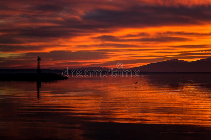 RED SKY SUNSET IN THESSALONIKI stock image