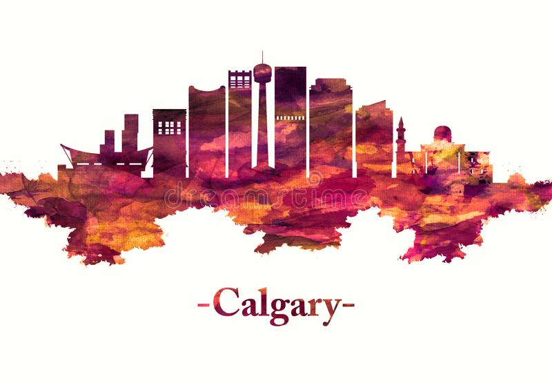 Calgary Canada skyline in Red. Red skyline of Calgary, a cosmopolitan Alberta city with numerous skyscrapers vector illustration