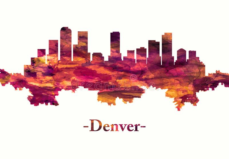 Denver Colorado skyline in red. Red skyline of Denver, the capital of Colorado, an American metropolis dating to the Old West era stock illustration