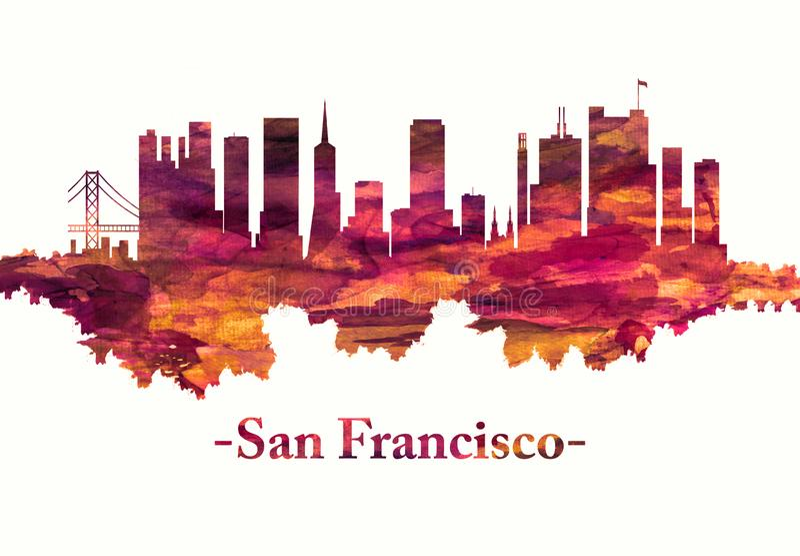 San Francisco California skyline in red vector illustration