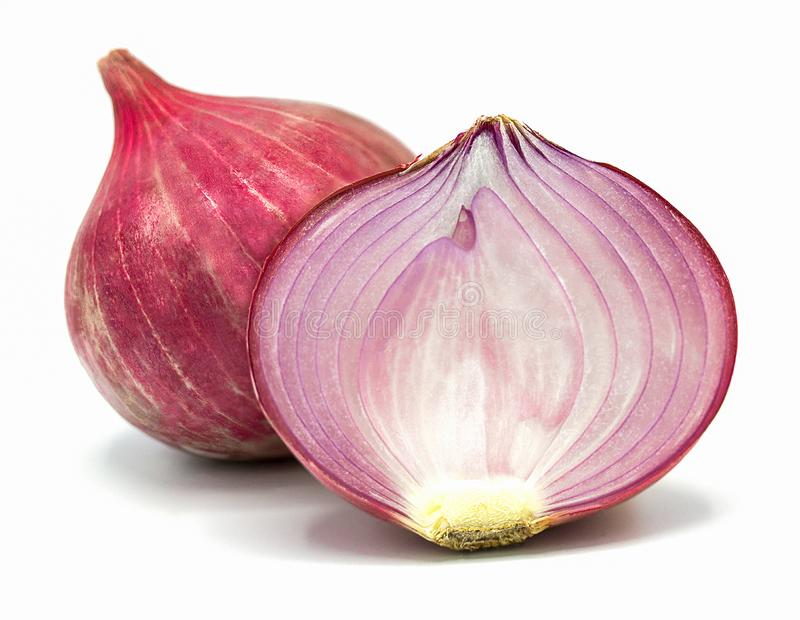 Red sliced onion isolated on white background,Closeup royalty free stock photo