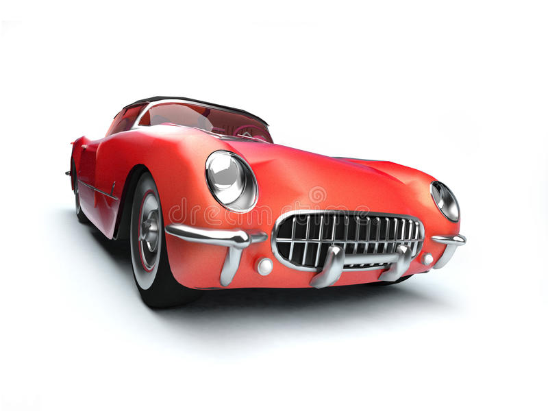Download Red small old-styled car stock illustration. Image of machine - 9404325