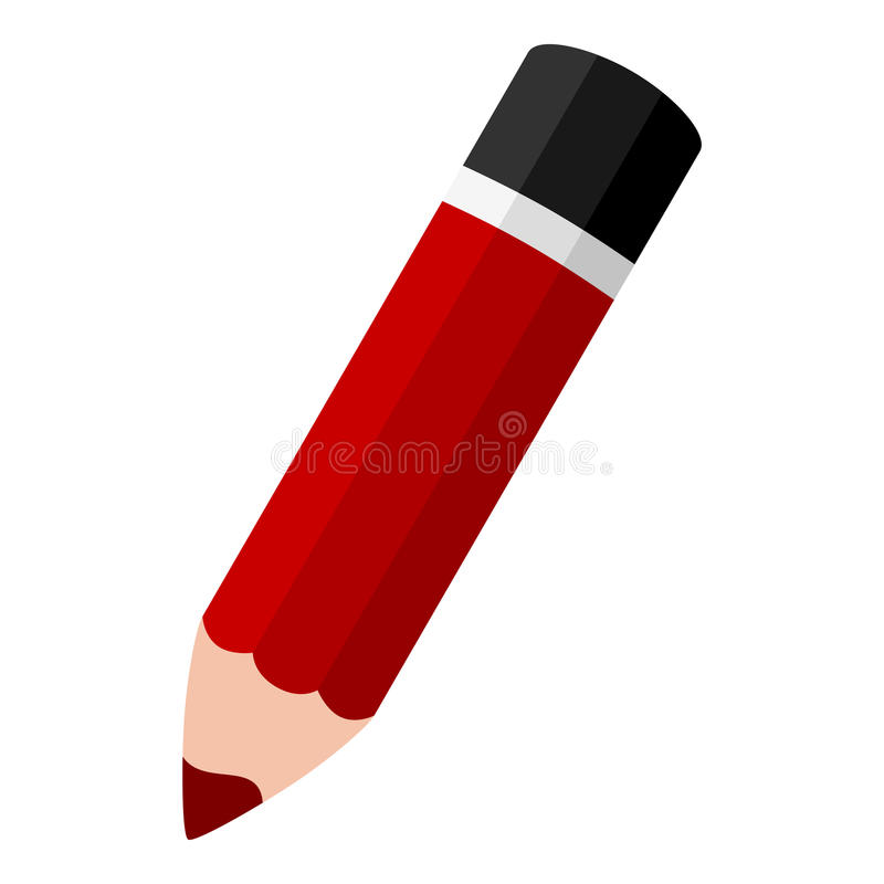 Red Small Pencil Flat Icon Isolated on White. Red pencil flat icon, isolated on white background. Eps file available royalty free illustration