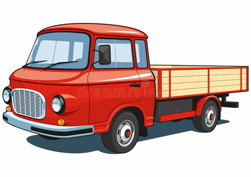 Red small truck royalty free stock images