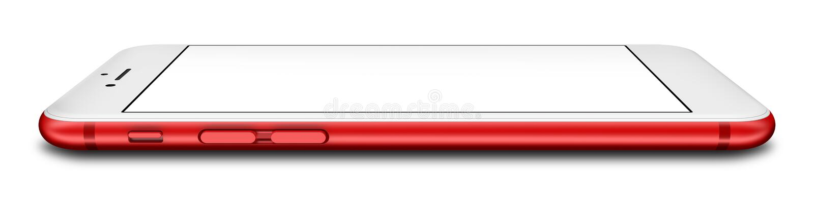 Red smartphone with blank screen, isolated on white background.  stock image
