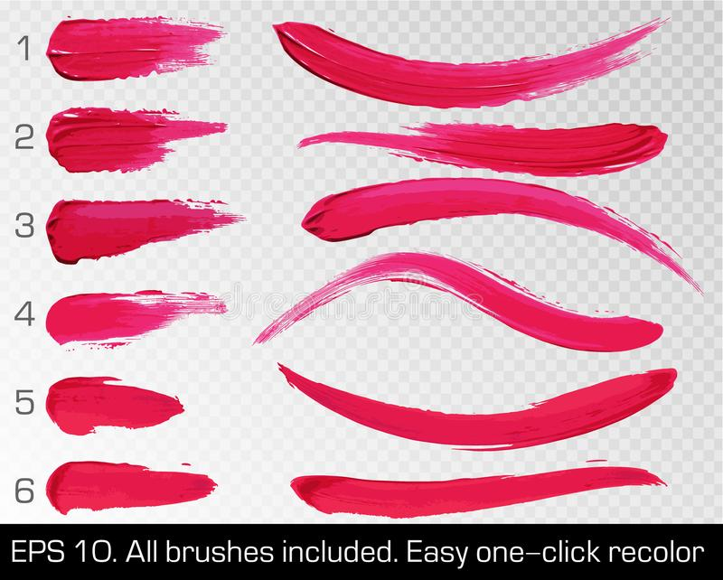 Red smears lipstick set texture brush strokes isolated on white transparent background. Make up. Vector illustration. Beauty. And cosmetics colorful collection vector illustration