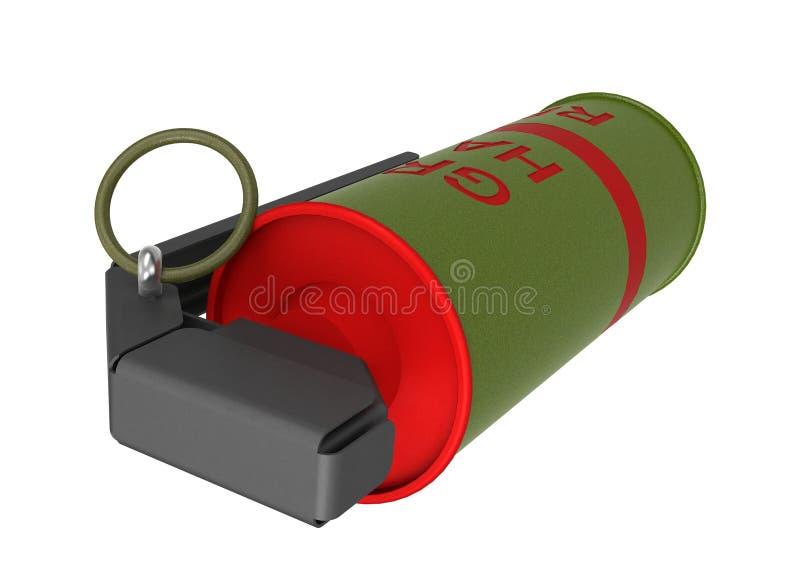 Red Smoke hand-grenade stock image