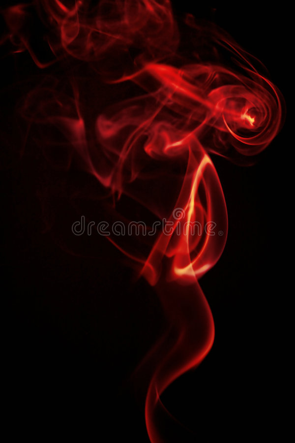Red smoke isolated on black stock photo