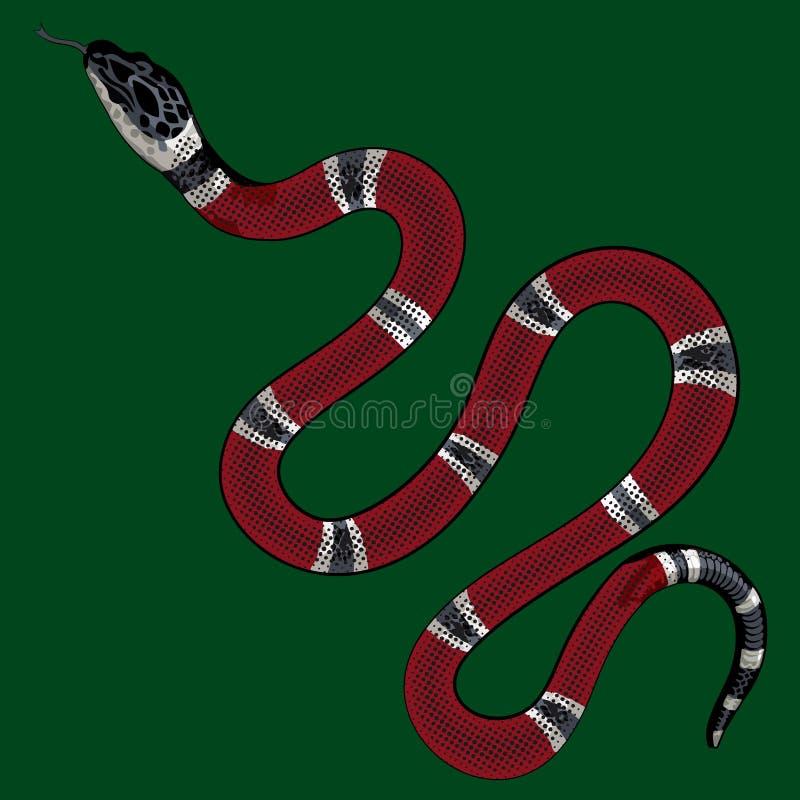 Red snake vector.Lampropeltis triangulum vector.Sticker and hand drawn snake for tattoo.Red snake Reptile on white background. Red snake vector.Lampropeltis vector illustration