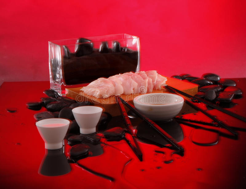 Red Snapper Sashimi with sake royalty free stock images