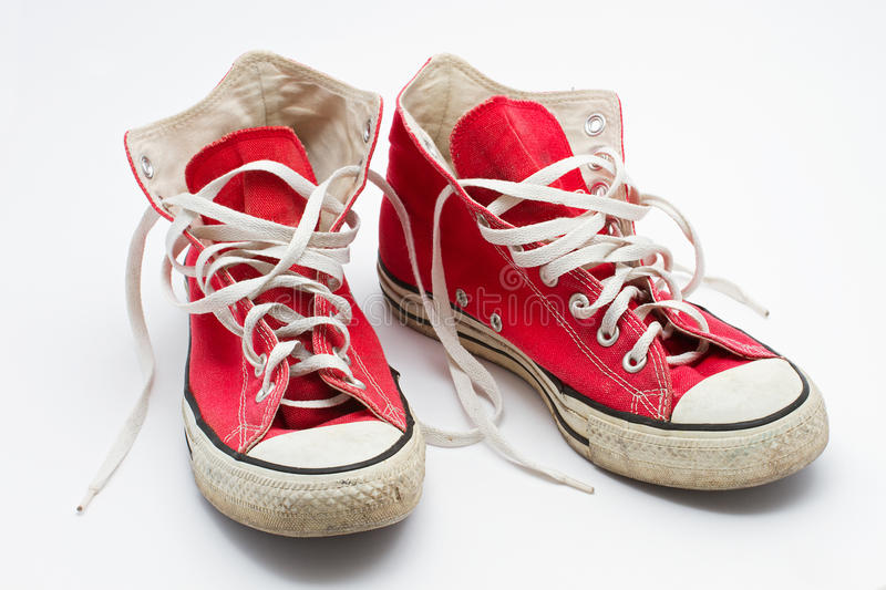 Red sneakers stock images