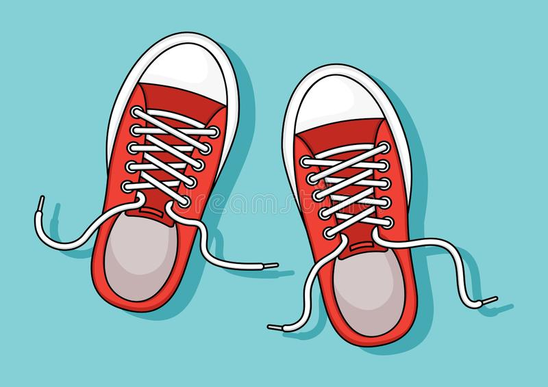 Red sneakers with shadow on blue background. Vector. Illustration stock illustration