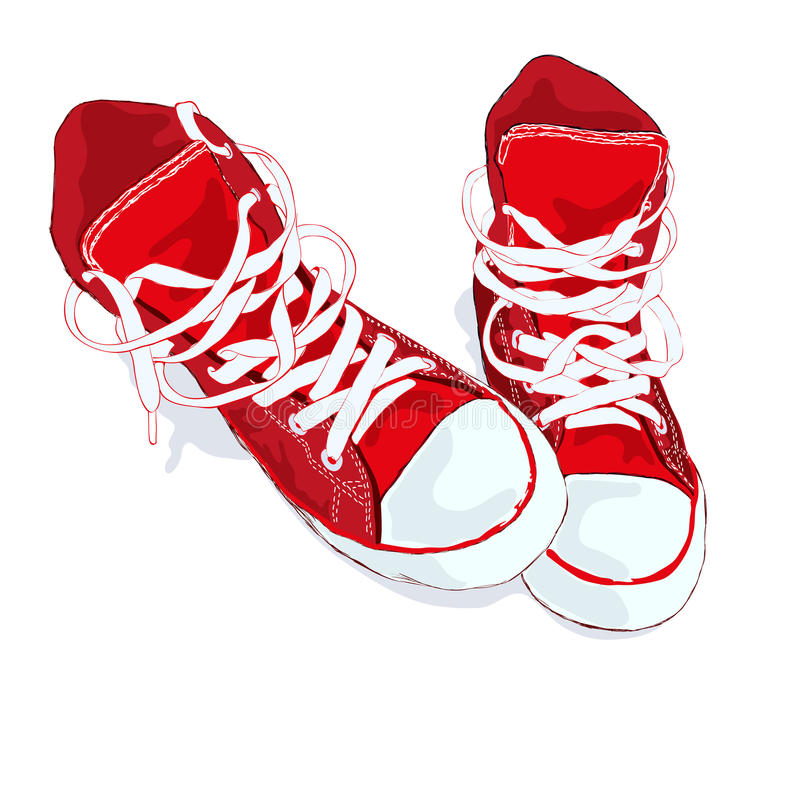 Red sneakers on white background. Vector illustration. royalty free illustration