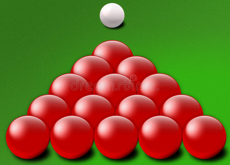 Red snooker balls triangle