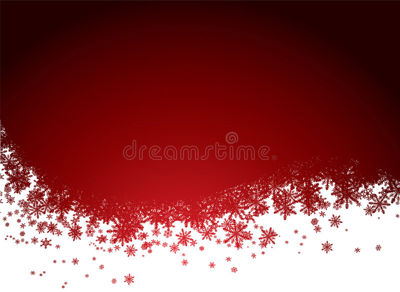 Red snow background. Christmas background in red and black with snowflakes vector illustration