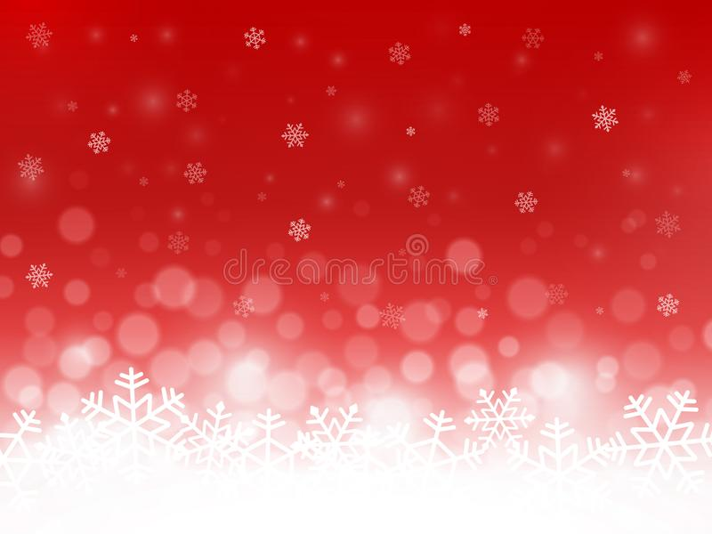 Red snow background. Snowflakes with particles and bokeh. Blurred backdrop. Christmas background. Holiday winter theme. Vector ill vector illustration