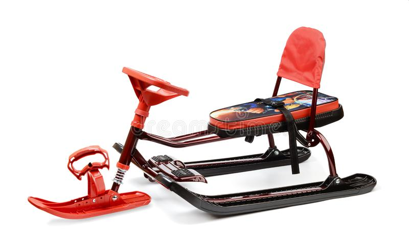 Red snow sledge isolated on white stock images