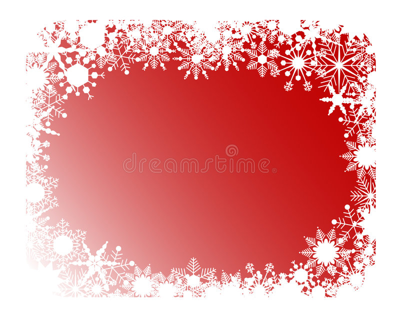 Red snowflakes frame royalty free illustration