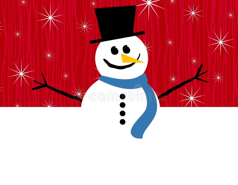 Red Snowman Border. An illustration featuring a snowman halved into a top positioned border vector illustration