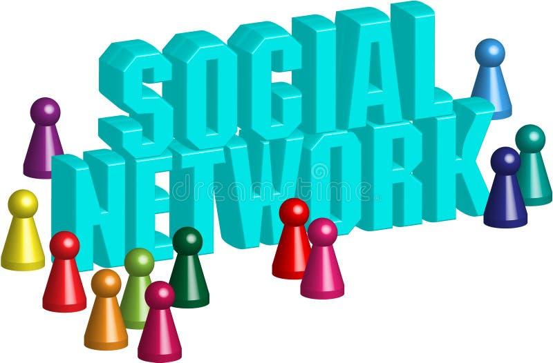 Red social 3d stock de ilustración