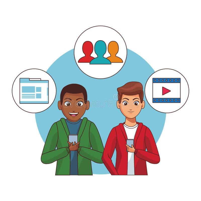 Red social de comprobaci?n para hombre con smartphones libre illustration