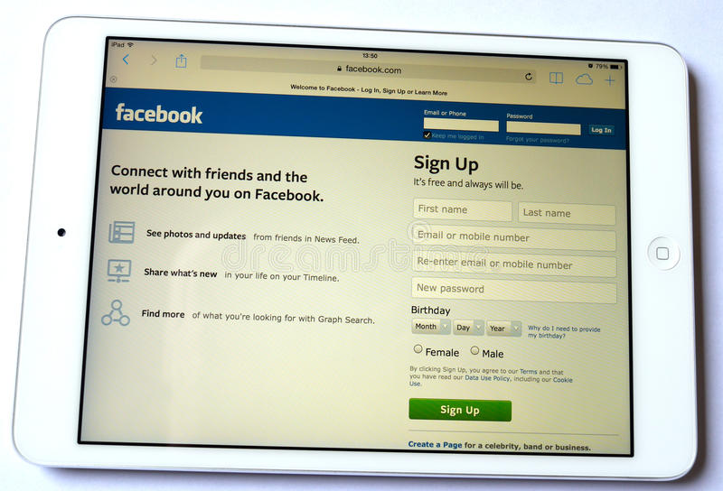 Red social de Facebook en blanco del fondo del ipad fotografía de archivo