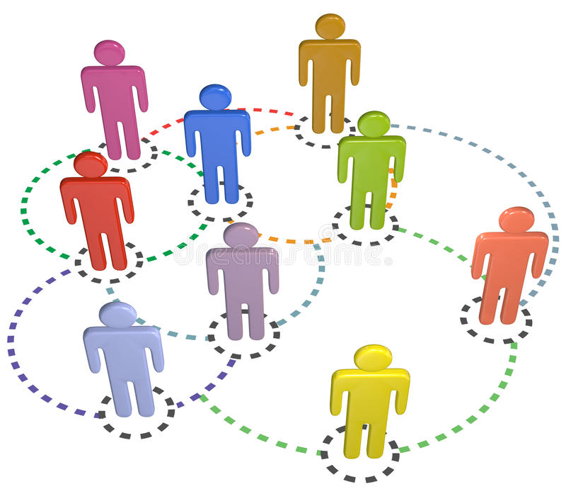 Red social del asunto de las conexiones del círculo de la gente stock de ilustración