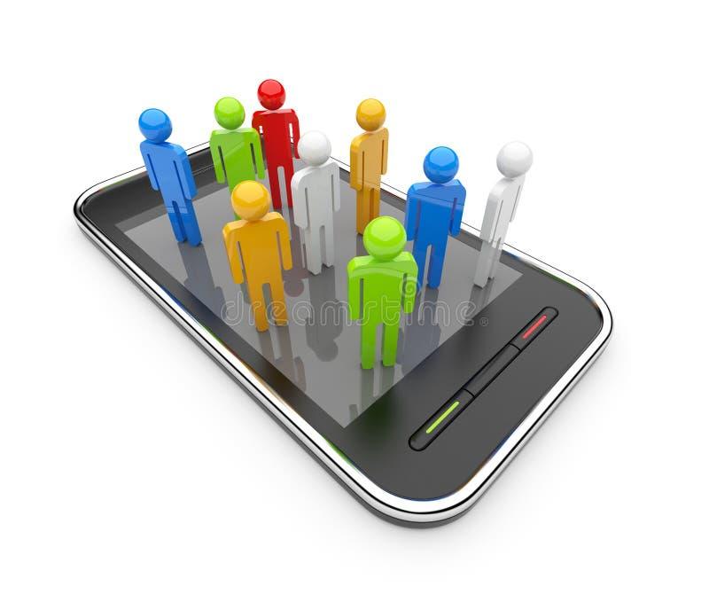 Red social en el smartphone 3D. Comunicación stock de ilustración