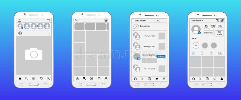 Red social en maqueta del smartphone Home Page, búsqueda y ofrecer la página, página de los gustos, página del perfil libre illustration