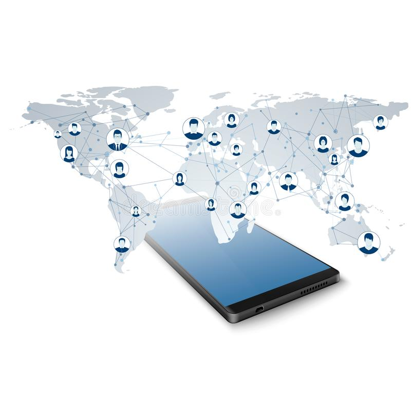 Red social global Conexión de red Tenga acceso a la red global en el app móvil Concepto moderno del World Wide Web o de Internet libre illustration