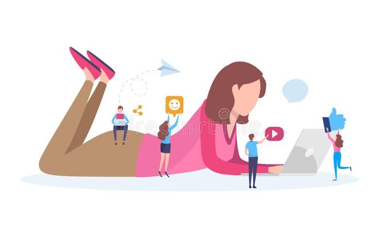 Red social, medio social, comunidad en línea, charla, mensaje, noticias, página web, usuario, Blogger Ejemplo plano de la histori stock de ilustración