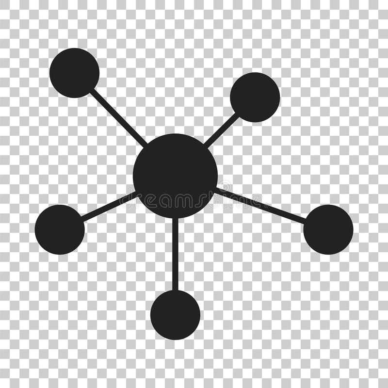 Red social, molécula, icono de la DNA en estilo plano Illustr del vector ilustración del vector