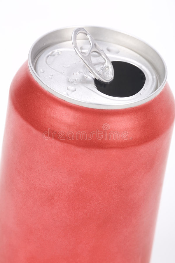 Red soda can. A red soda can close up shot stock photo