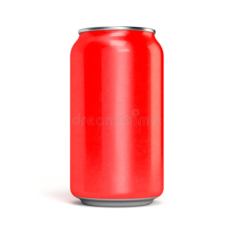 Red soda can. Metal aluminum. isolated on white stock photography