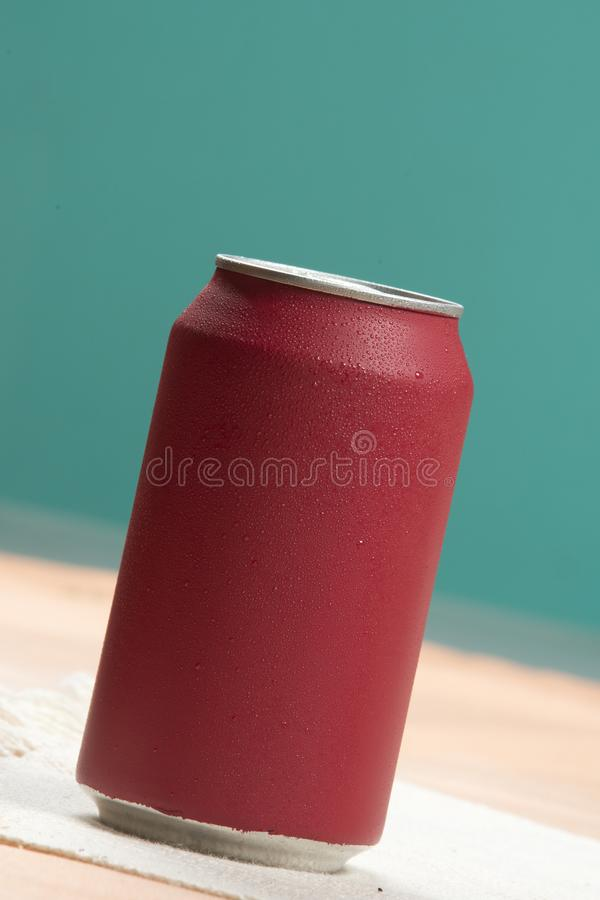 Red soda can. With a glass filled with ice refreshing sweet drink cold cool liquid cup beverage refreshment background freshness wet still bottle bubble stock photos