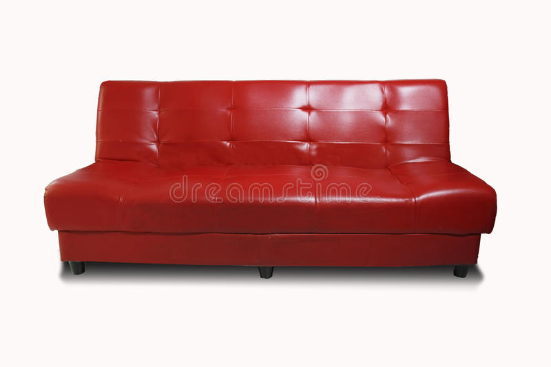 Red sofa. Isolated on white background stock photo