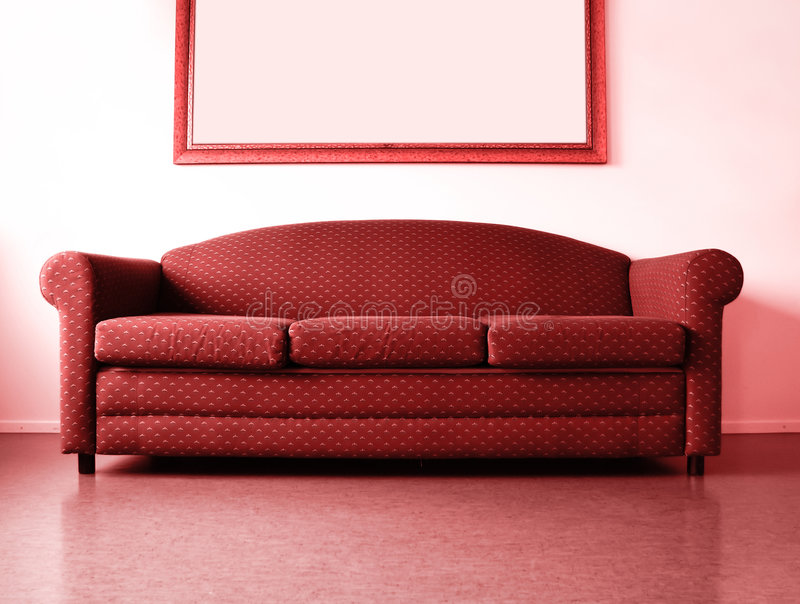 Red sofa royalty free stock photography