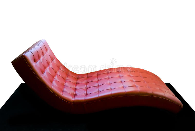 Red sofa. With free white space stock photography