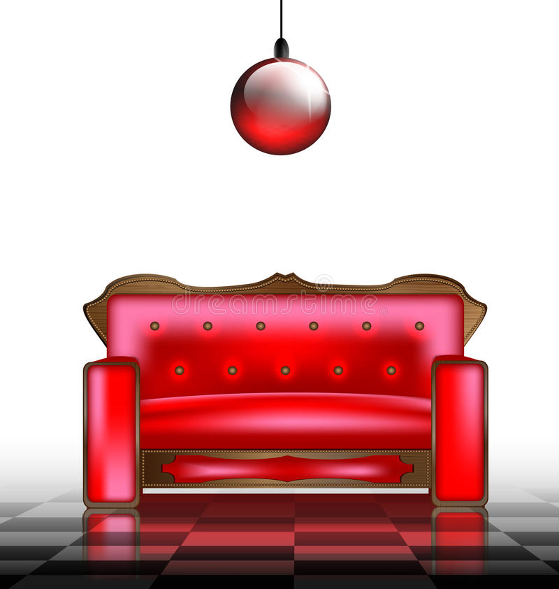 Download Red sofa stock vector. Image of divan, home, illustration - 27546961