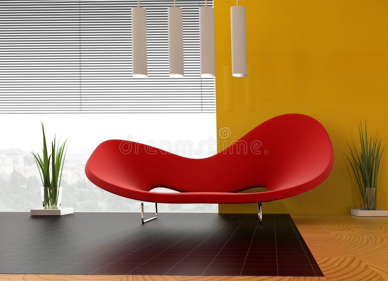 Red sofa royalty free illustration