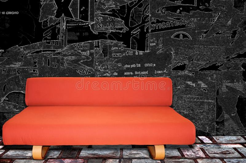 Red sofa fabric on writing black wall royalty free stock photos