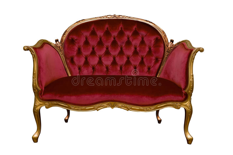 Red sofa isolated. On white background stock photos