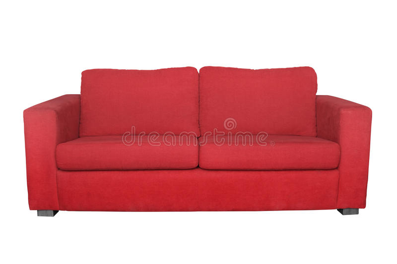 Red sofa isolated. On white background royalty free stock photo